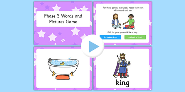 Phonics Words and Pictures Game Phase 3 - phonics, words, pictures, game