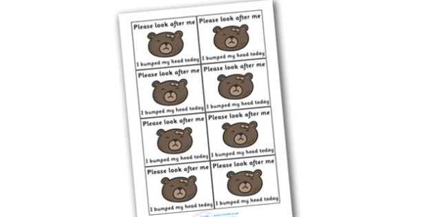 Please Look After Me Bump Injury Stickers - bump, I've had a bump, little, accident, please look after me, looking after, injury, sticker, medical condition