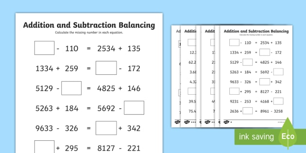 UKS2 Addition and Subtraction Balancing Equations Differentiated