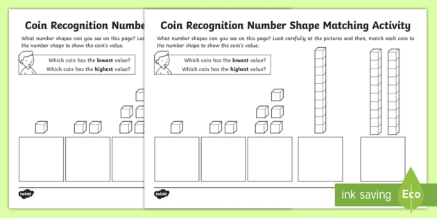 new coin recognition diens matching worksheet eyfs early years ks1. Black Bedroom Furniture Sets. Home Design Ideas