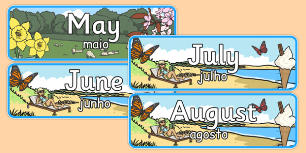 Months of the Year With Seasons Theme Display Posters Portuguese Translation - portuguese, months, year