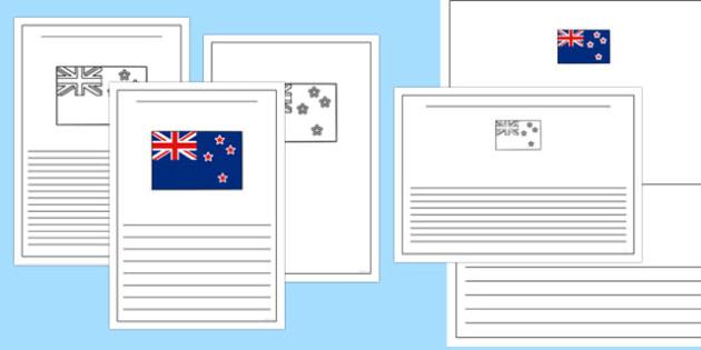 New Zealand Flag Writing Frames - new zealand, flag, writing frame, writing, frame