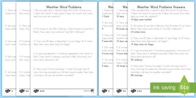 weather word problems differentiated worksheet worksheets addition. Black Bedroom Furniture Sets. Home Design Ideas