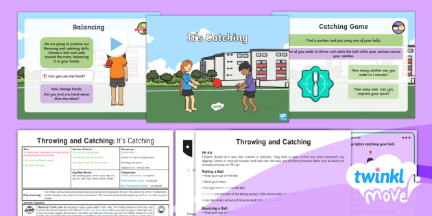 Twinkl Move - Year 1 Throwing and Catching: Lesson 3 - It's Catching Lesson Pack - Move, pe, physical education, sports, ball skills, throw, catch, lesson, planning, powerpoint, ppt,