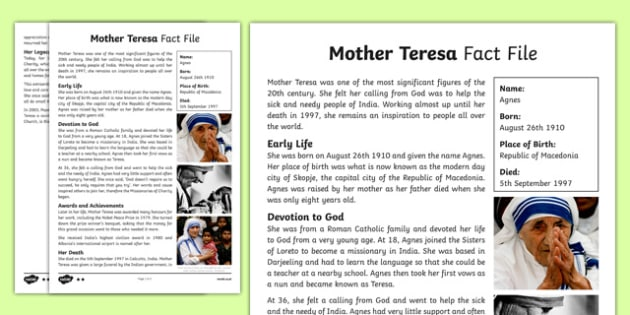 Mother Teresa Differentiated Fact File