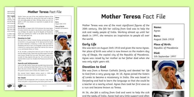 Mother Teresa Biography In Hindi Pdf