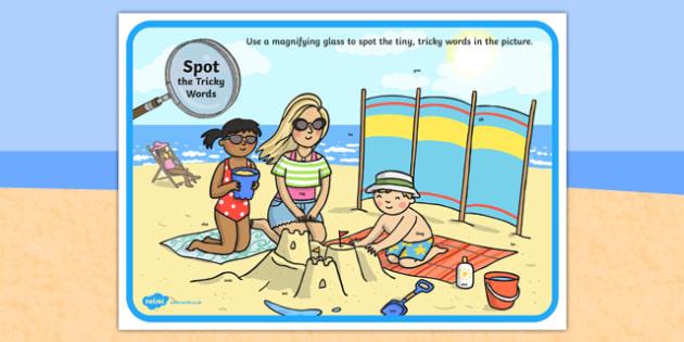 Phase 3 Tricky Words Beach Scene Magnifying Glass Activity Sheet, worksheet