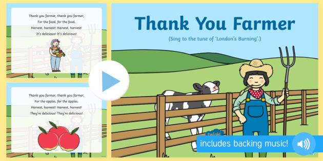 Thank You Farmer Song Powerpoint Teacher Made