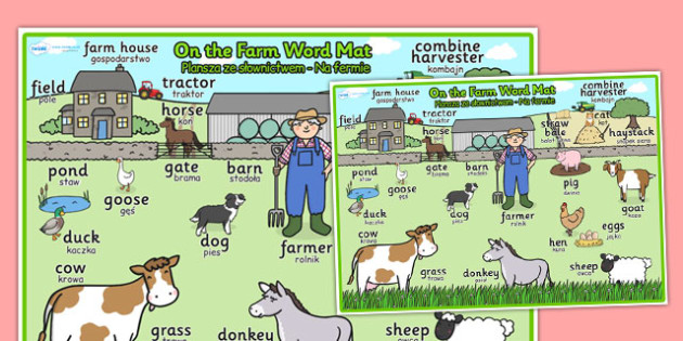 On the Farm Scene Word Mat Polish Translation - polish, on the farm