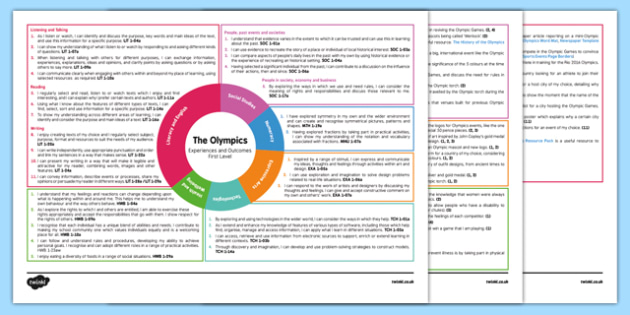 The Olympics Interdisciplinary Topic Web CfE First Level - CfE, Social Studies, People, Place, Past, Environment, Rio, 2016, London, 2012, Cross Curricular, IDL, Topic, Plan, Planner, Sport, Compete, Pierre de Coubertin, Olympians