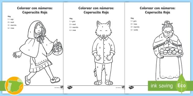 Colorear con números: Caperucita Roja - Cuentos, tradicionales