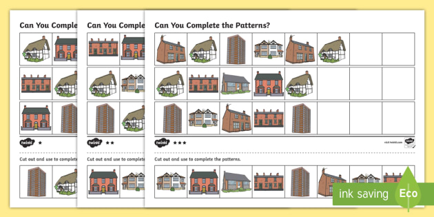 Houses and Homes Complete the Pattern Worksheet Differentiated