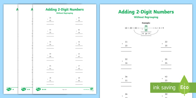 Adding 2 Digit Numbers In A Column With No Carrying Differentiated Worksheet Digit column addition worksheets ks2