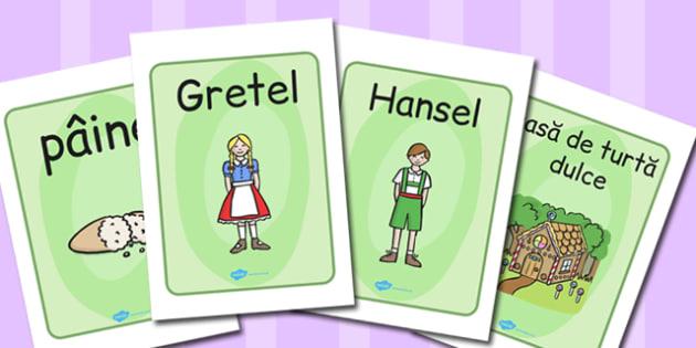 Hansel și Gretel - Planșe cu imagini și cuvinte - Hansel and Gretel, Hansel și Gretel, poveste, cartonașe, vocabular, planșe, imagini, cuvinte, romanian, materiale, materiale didactice, română, romana, material, material didactic