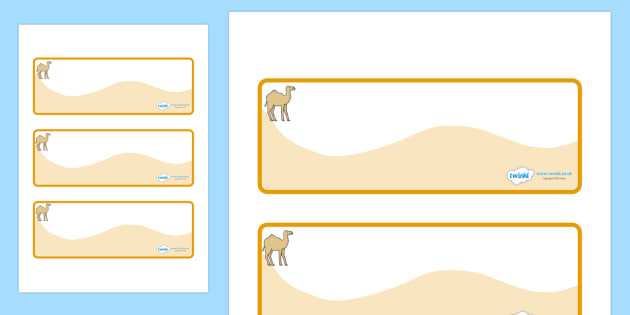Camel Themed Editable Drawer-Peg-Name Labels (Colourful) - Themed Classroom Label Templates, Resource Labels, Name Labels, Editable Labels, Drawer Labels, Coat Peg Labels, Peg Label, KS1 Labels, Foundation Labels, Foundation Stage Labels, Teaching La