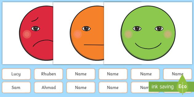 Happy Face Sad Face 4xA4 Display Cut Outs Behaviour Management Boards - feelings, rules, behaviour