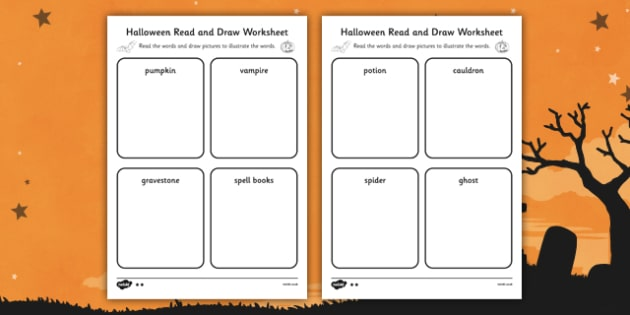 Halloween Read and Draw Worksheet - Halloween, Read, Draw, Ghost