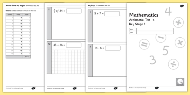 Key Stage 1 Arithmetic Half Tests - tests, arithmetic, 2016, practice, stage, 1, key, half, 2014, curriculum, numeracy, maths
