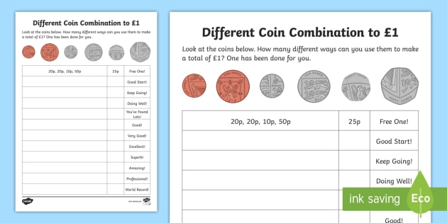 Different Coin Combination to £1 Worksheet / Worksheet ...