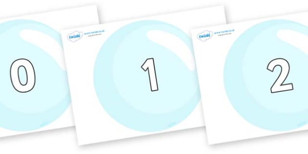Numbers 0-31 on Bubbles - 0-31, foundation stage numeracy, Number recognition, Number flashcards, counting, number frieze, Display numbers, number posters