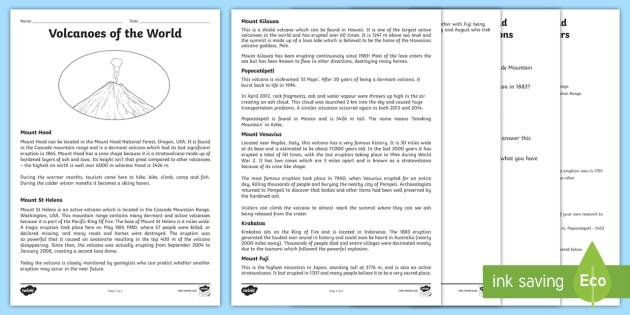 World Volcanoes Reading Comprehension Activity KS2