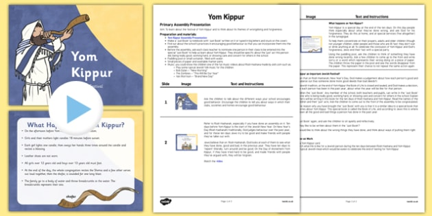 Yom Kippur Assembly PowerPoint and Script Pack - yom kippur