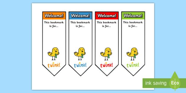 Editable Welcome Bookmarks - Welcome, bookmark, bookmark template,  gift,  present, book, reward, achievement