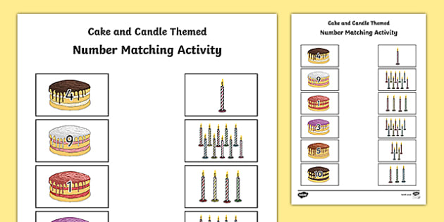Cake and Candle Themed Number Matching Activity Sheet - cake, candle, number, match, matching, activity