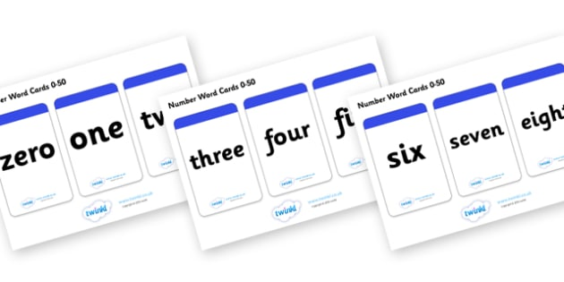 Number Word Cards (0-50) - Numeracy, number card, number word, math, number recognition, counting