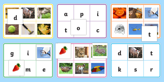 Phase 2 Letters with Matching Initial Sound Photograph Bingo ...