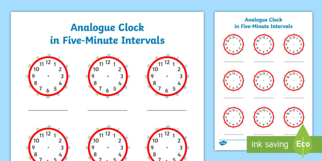 analogue clock in five minute intervals worksheet. Black Bedroom Furniture Sets. Home Design Ideas