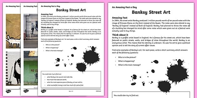 Banksy Street Art Activity Sheet, worksheet