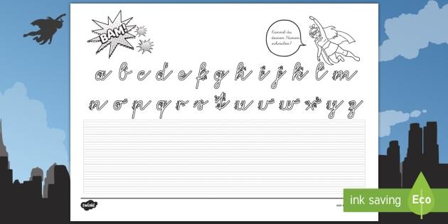 Erstes Schreiben mit Superhelden Arbeitsblatt - Kleinbuchstaben
