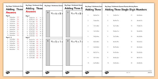 KS1 Arithmetic Practice Activity Sheet Pack Adding 3 Single Digit Numbers - Maths, KS1, Key Stage 1, Arithmetic, addition, subtraction single-digit, ones, add, subtract, worksheet