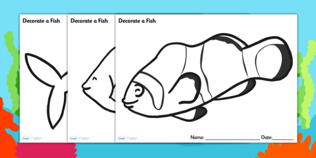 Under the Sea Decorate a Fish Template - under the sea, under