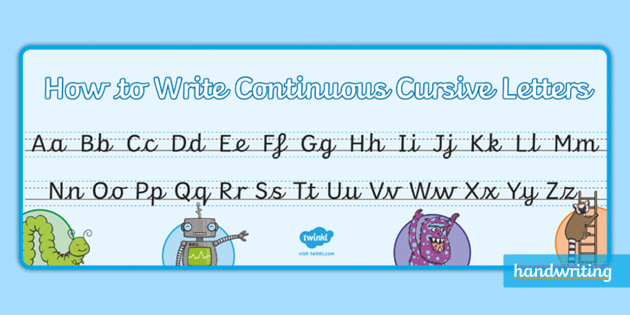 Twinkl Handwriting Continuous Cursive Alphabet A4 Display Banner