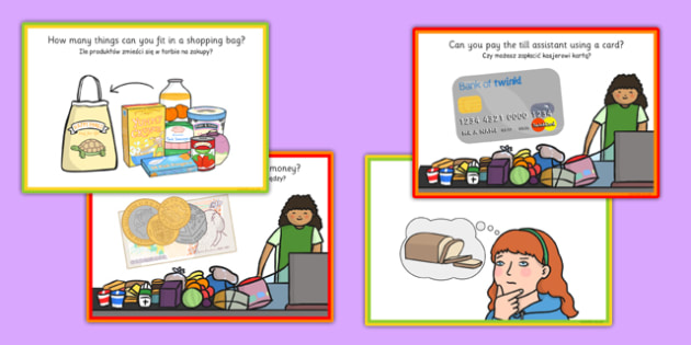 Supermarket Role Play Challenge Cards Polish Translation - polish, supermarket, role play, challenge, cards