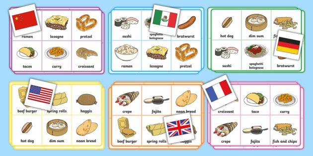 Food of the World Matching Bingo - Food of the World Word Mats