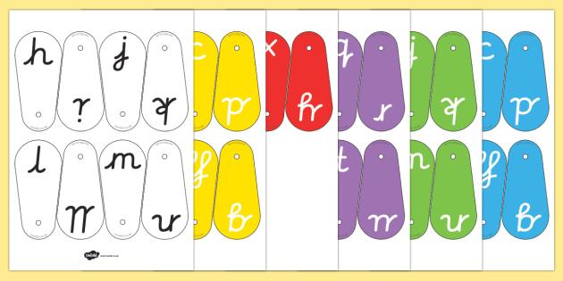 A-Z Letter Fans (Cursive) - education, home school, child development, children activities, free, kids