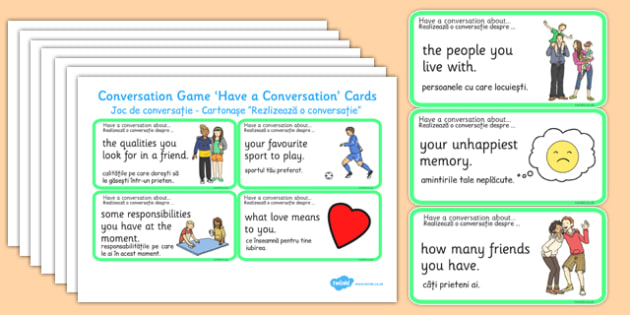 Conversation Game Have A Conversation Cards Green Romanian Translation - romanian, conversation game