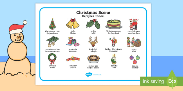 Christmas Scene Word Mat English/Afrikaans - Christmas Scene Word Mat - chrisrmas, vocabulary mat, word mat, key words, topic words, word poster,