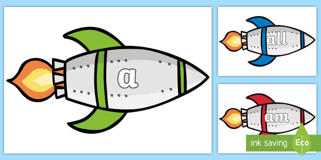 Foundation Stage 2 Keywords on Rockets - FS2, CLL, rocket, space, keywords, Communication language and literacy,  Display, Key words, high frequency words, foundation stage literacy, DfES Letters and Sounds, Letters and Sounds, spelling
