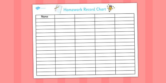 A3 Homework Record Chart - home learning, diary, information, teacher, organisation, table, log, large,