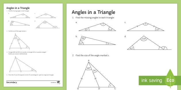 Angles in a Triangle Worksheet / Worksheet - interior ...