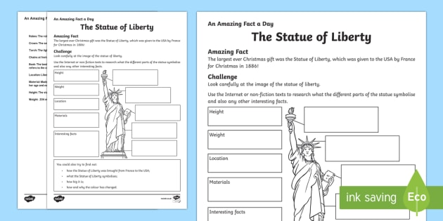 The Statue of Liberty Worksheet / Activity Sheet - Amazing Fact Of The Day, worksheet / activity sheets, powerpoint, starter, morning activity, December, Statue of - Amazing Fact Of The Day, worksheet / activity sheets, powerpoint, starter, morning a