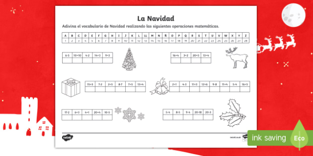 Guess Christmas Vocabulary With Maths Worksheet / Activity Sheet Spanish