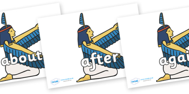KS1 Keywords on Egyptian - KS1, CLL, Communication language and literacy, Display, Key words, high frequency words, foundation stage literacy, DfES Letters and Sounds, Letters and Sounds, spelling
