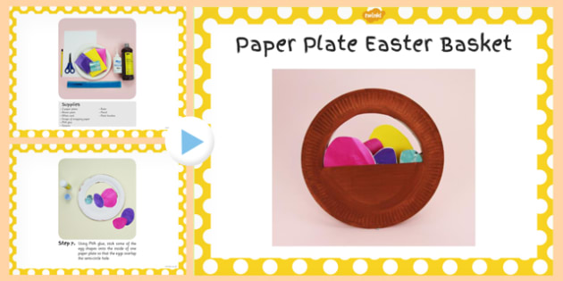 Paper Plate Easter Basket Craft Instructions PowerPoint - craft