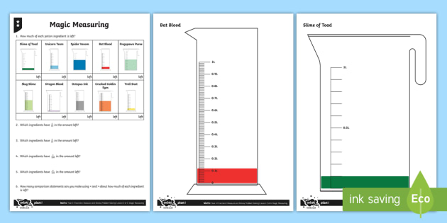 Solve Problems Involving Measure and Decimals Differentiated Activity Sheets - Decimals, measure, measurement, scales, reading scales, litres, ordering, ordering, comparing, great