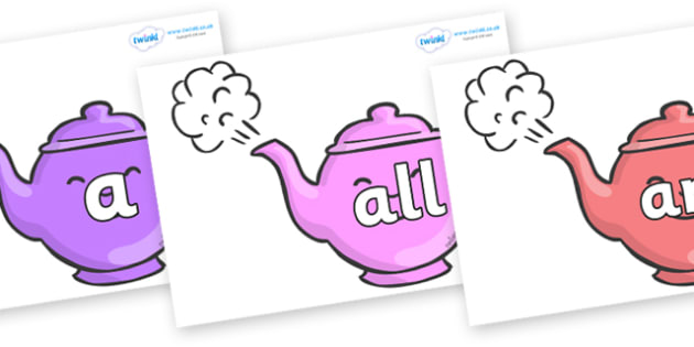 Foundation Stage 2 Keywords on Teapots - FS2, CLL, keywords, Communication language and literacy,  Display, Key words, high frequency words, foundation stage literacy, DfES Letters and Sounds, Letters and Sounds, spelling